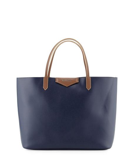 Antigona Large Leather Shopper Bag, Dark Blue