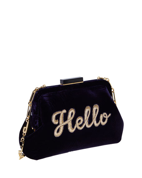 Lauren Hello Embroidered Velvet Shoulder Bag, Navy