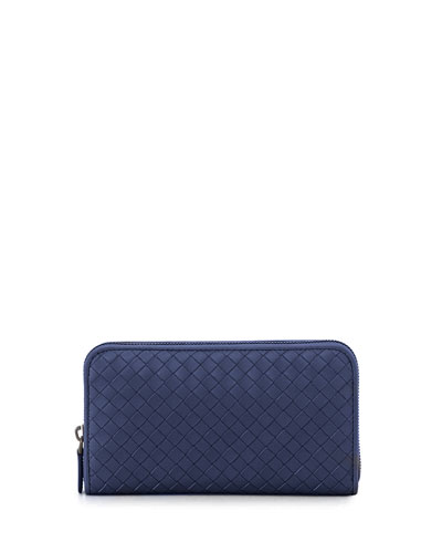 Continental Zip-Around Woven Wallet, Royal Blue