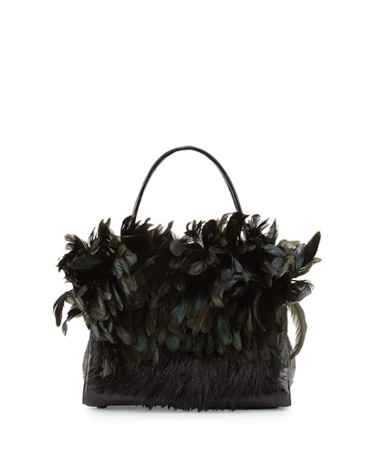 Wallis Medium Crocodile Bag w/Mink & Feather Trim