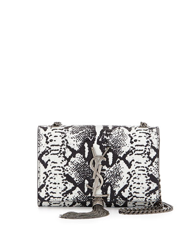 Monogramme Lizard-Stamp Shoulder Bag, White/Black