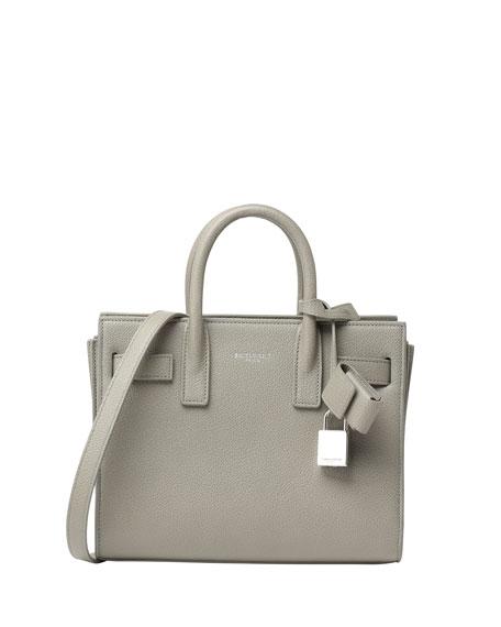 Sac de Jour Small Grain Leather Tote Bag, Light Gray