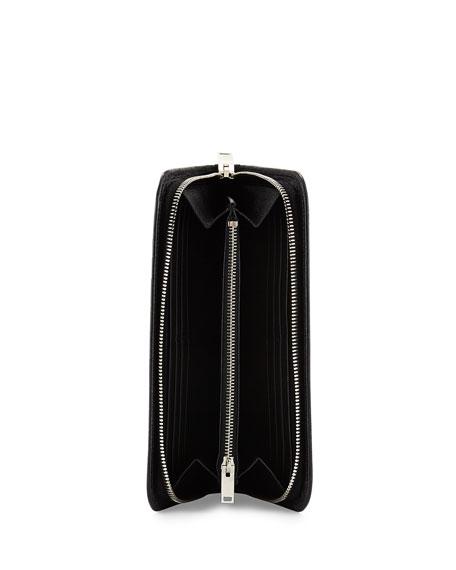 Crocodile-Embossed Zip Wallet, Black