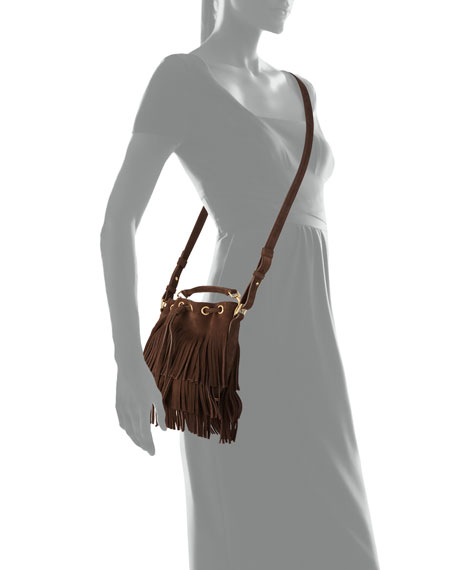 ysl y clutch bag - Saint Laurent Emmanuelle Small Suede Fringe Bucket Bag, Dark Brown