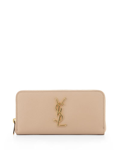 Monogram Zip-Around Wallet, Dark Beige