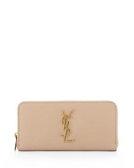 Monogram Zip-Around Wallet, Dark Beige