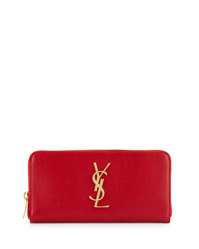 Monogramme Leather Zip Wallet, Red