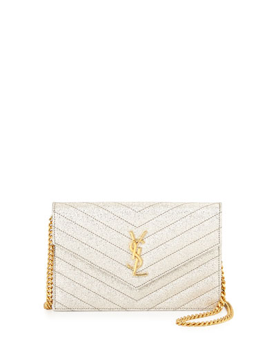 Monogram Medium Metallic Shoulder Bag, Pale Gold