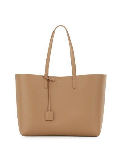 Large East-West Leather Shopper Bag, Dark Beige