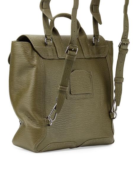 Pashli Leather Zip Backpack, Military