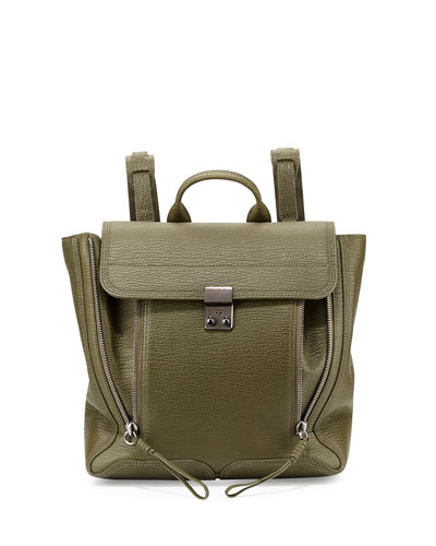 Pashli Leather Zip Backpack, Military