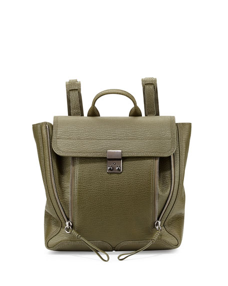 3.1 Phillip Lim Pashli Leather Zip Backpack, Military
