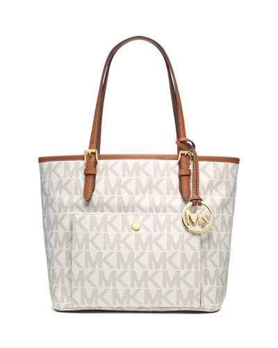 Jet Set Medium Snap-Pocket Tote Bag, Vanilla