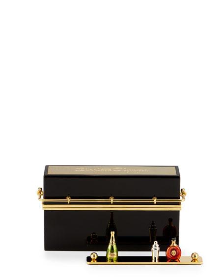 Cocktail Hour Clutch Bag, Black/Gold