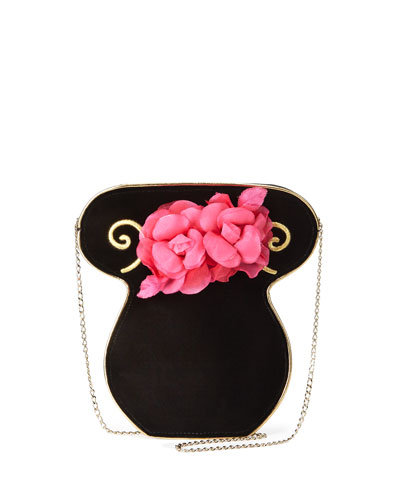 Velvet Bouquet Clutch Bag, Black