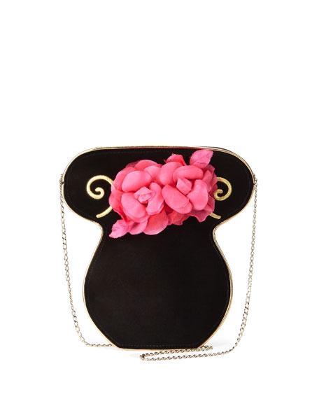 Charlotte Olympia Velvet Bouquet Clutch Bag, Black