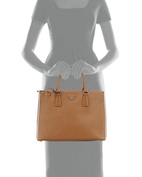 Saffiano Lux Tote Bag, Camel/White (Cannella/Talco)