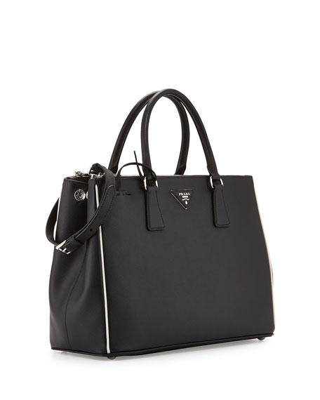 ... spain prada saffiano lux tote bag black white nero talco neiman marcus  520a9 9d1c0 982b26ad3fa24