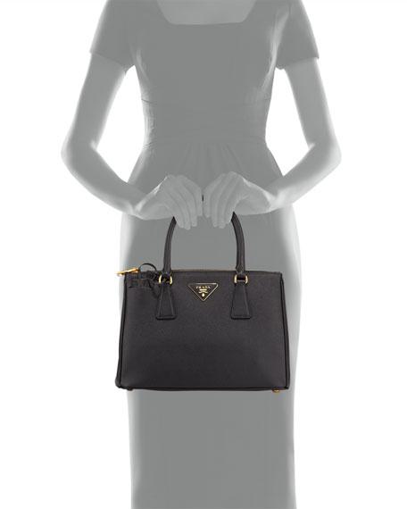 Saffiano Small Lux Double-Zip Tote Bag, Black (Nero)