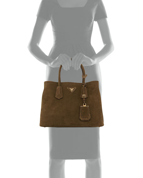 Suede Small Tote Bag, Army Green/Tan (Militare/Ocra)
