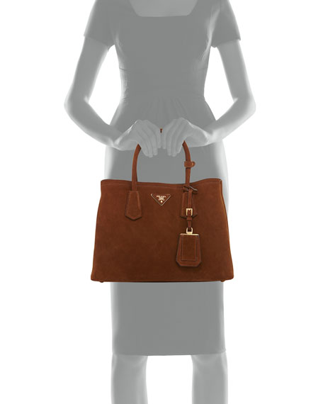 prada handbag green leather - Prada Suede Small Double Bag, Brown/Tan (Cacao/Nocciola)