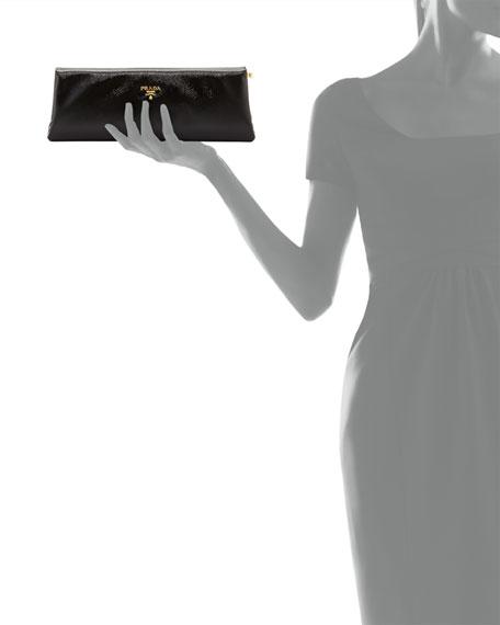 Saffiano Vernice East-West Frame Clutch Bag, Black (Nero)