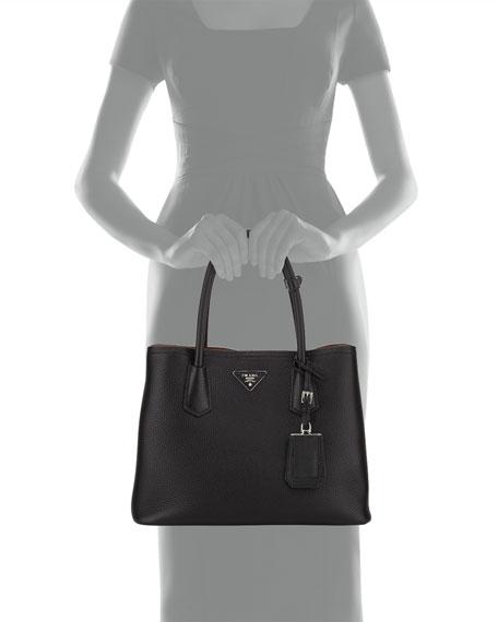 b65c88793cd0 Prada Vitello Daino Small Double Bag, Black/Tan (Nero+Cuoio)