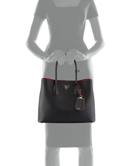 Saffiano Cuir Medium Double-Handle Tote Bag, Black/Red (Nero+Ciliegia)