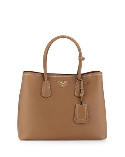 Saffiano Cuir Double Medium Tote Bag, Camel/Brown (Cannella/Cocco)
