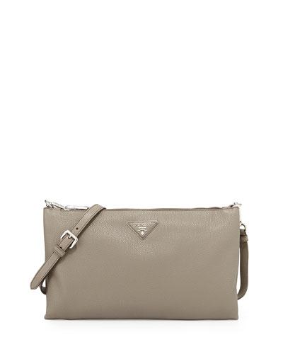 Vitello Daino Crossbody Bag, Gray (Argilla)
