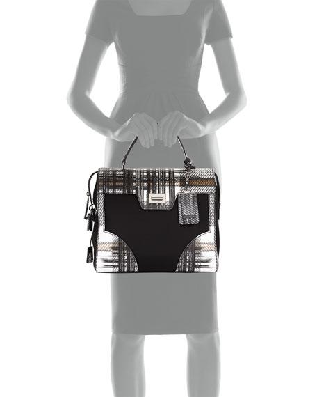Prada Tessuto \u0026amp; Saffiano Print Satchel Bag, White Multi (Bianco ...