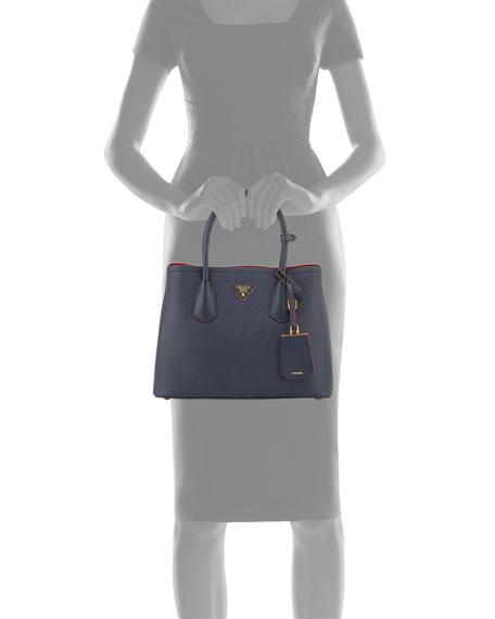 prada black bag nylon - Prada Saffiano Cuir Double Bag, Blue/Red (Baltico+Ciliegia)