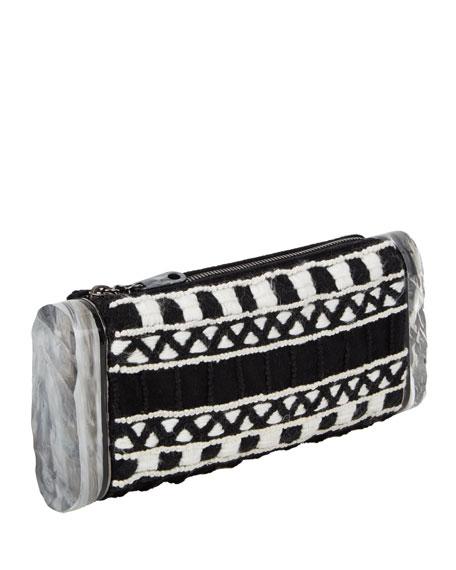 Soft Lara Embroidered Clutch Bag, Black/Multi