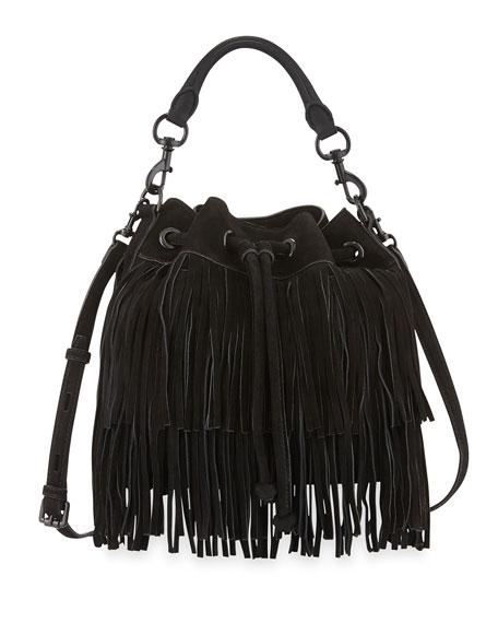 Fiona Suede Fringe Bucket Bag Black