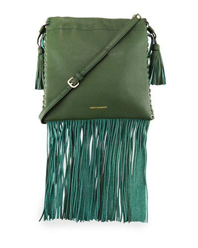 Moto Fringe Drawstring Saddle Bag, Dark Forest