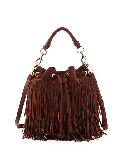 Fiona Suede Fringe Bucket Bag, Chocolate