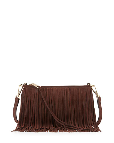 Finn Fringe Suede Crossbody Bag, Chocolate