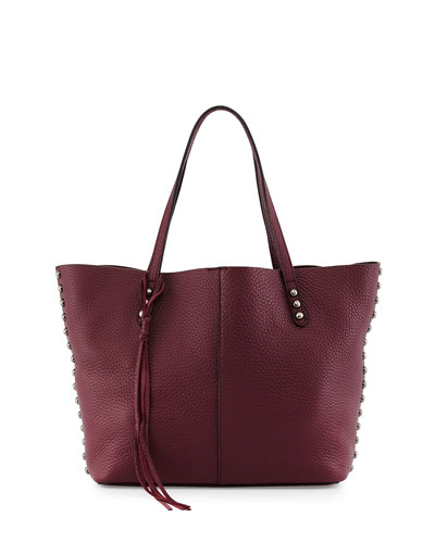 Pebbled Leather Unlined Tote Bag, Port