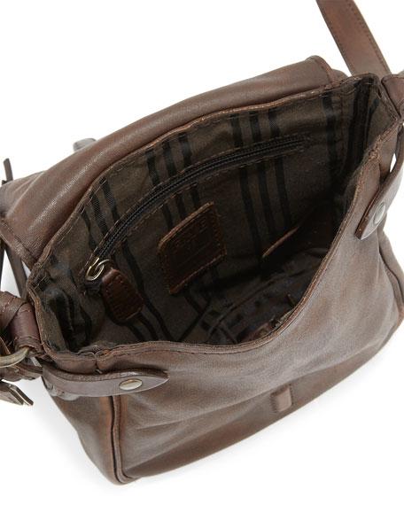 Veronica Leather Crossbody Bag, Maple