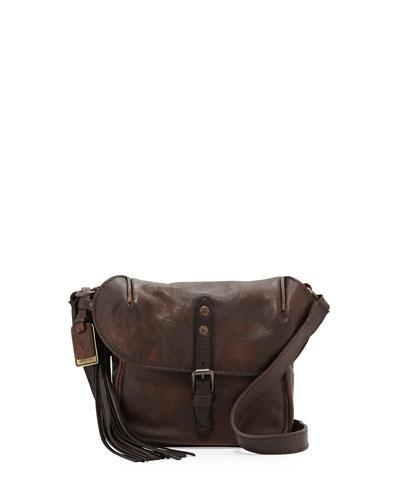 Veronica Leather Crossbody Bag, Maple