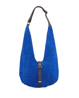 Two-Tone Leather Hobo Bag, Cobalt/Dark Brown