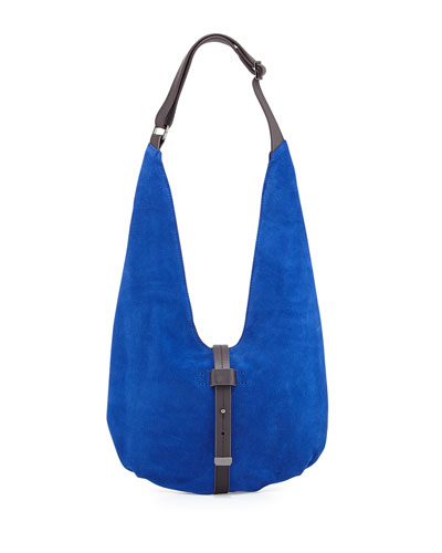Two-Tone Leather Hobo Bag, Cobalt/Dark Brown