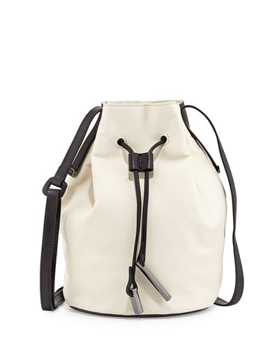 Colorblock Drawstring Bucket Bag, Bone