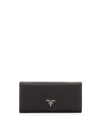 Vitello Phenix Continental Wallet, Black (Nero)