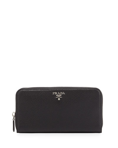 Vitello Phenix Zip-Around Wallet, Black (Nero)