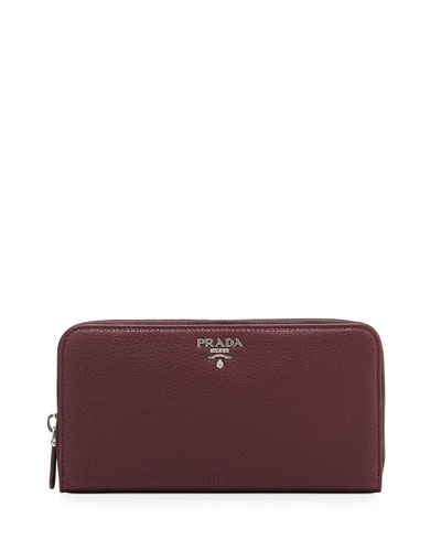 Vitello Phenix Zip-Around Wallet, Bordeaux (Granato)