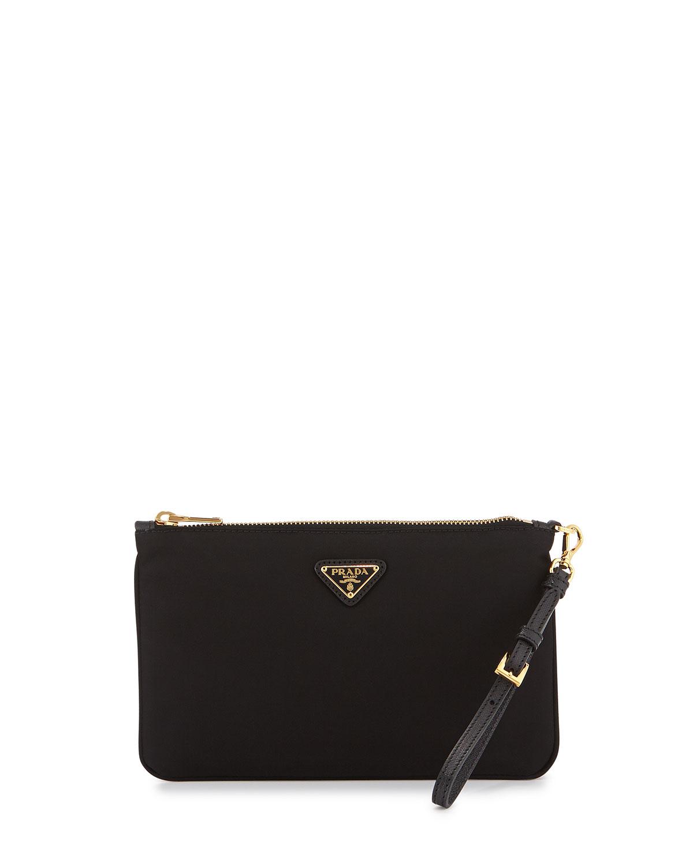 Prada Tessuto Small Wristlet Bag Black Nero Neiman Marcus