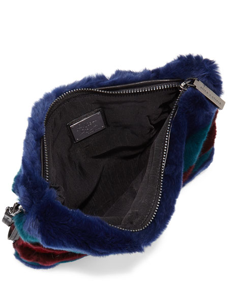 Agnes Multi-Stripe Fur Clutch Bag, Multicolor