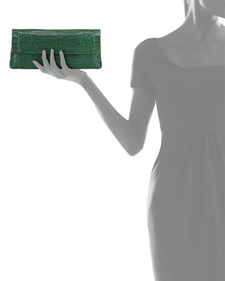 Gotham Crocodile Flap Clutch Bag, Green Matte