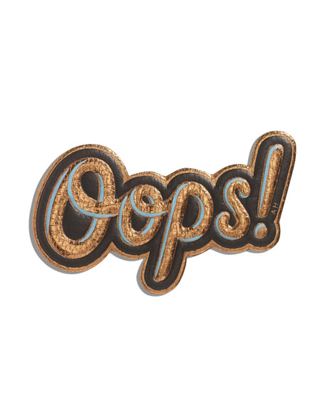 Oops! Statement Sticker for Handbag, Gold